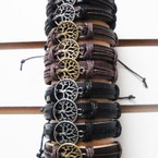 Natural Color Teen Leather Bracelet w/ Gold & Silver Tree of Life .54 ea