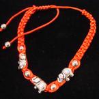 Handmade Red Macrame Bracelet w/ Silver Elephants (3278) .54 ea