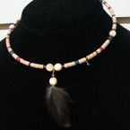 Wood Bead Choker w/ Colored Beads & Dangle Feather .50 ea
