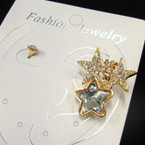 Gold Triple Star Earring Cuff w/ Crystal Stud .50 per set