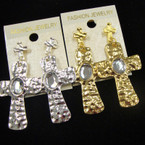 Gold & Silver Hammered Look Cross Earrings w/ Clear Stone .50 ea