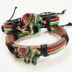 Rasta Color Teen Leather Bracelet w/ Elephant .54 ea