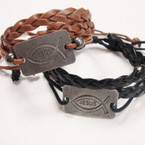 Multi Strand Leather Bracelet w/ Silver JESUS Plaque Fish Style .54 ea