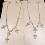 Gold & Silver Rhinestone Neck Set w/ Mini Crosses .54 ea set
