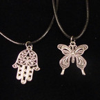 Leather Cord Necklace w/ Cast Metal Butterfly & Hamsa Pendant 24 per pack .33 ea