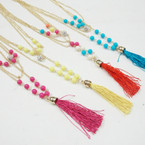 Layered Gold Chain Fashion Necklace w/ Colored Beads & Tassel .56 ea