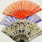 "9"" Mixed Color Fabric Fan w/ Gold Metallic Design  12 per pk  .54 ea"