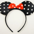All Black Mouse Ear Fashion Headband w/ Red Bow  .54 ea