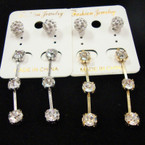 Fireball & Triple Crystal Drop Fashion Earring .52 ea