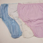 Ladies 100% Cotton Underwear Med. Size 3 colors 9 pc pk .33 ea