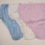 Ladies 100% Cotton Underwear Med. Size 3 colors 9 pc pk .33 ea