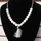 Colorful Bead & Fireball Fashion Necklace w/ Tassel Pendant .56 ea