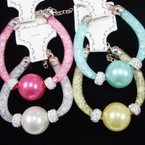 Mesh Fashion Bracelet w/ Crystals & Chunky Colored Pearl Ball .54 ea