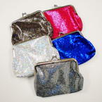 "Big 4"" Metallic Silver Frame Snap Closure Coin Purse .56 ea"