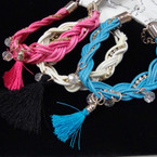Colorful Braided Cord Bracelet w/ Rhinstones,Crystal & Tassel All for .54 ea