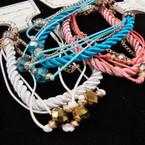 Classy Multi Cord Fashion Bracelet w/ Crystal Stones .25 ea