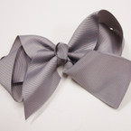 "6"" All Gray Color Gator Clip Fashion Bow .54 ea"