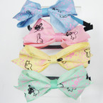 "Wrapped Fabric Headband w/ 4"" Cute Bunny Print  Bow MIxed Colors  .41 ea"