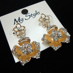 Gold Flower Drop Crystal Stone Fashion Earring .52 ea