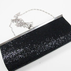 """4"""" X 9"""" Black Sequin Evening Bag w/ Long Silver Chain Strap sold by pc $ 2.50 ea"""