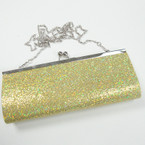 """4"""" X 9"""" Gold Sequin Evening Bag w/ Long Silver Chain Strap sold by pc $ 2.50 ea"""