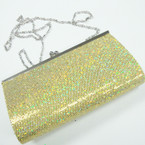 """4"""" X 7"""" Gold Sequin Evening Bag w/ Long Silver Chain Strap sold by pc $ 2.00 ea"""