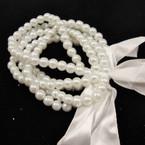 5 Strand 6 MM Glass Pearl Bracelet White Color .56 EACH SET