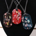 """DBL Leather Cord Necklace w/ 2"""" Glass Pendant Inlay Cross .54 ea"""