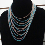 Two Tone Chain Fashion Necklace Multi Chain Layered Style .58 ea