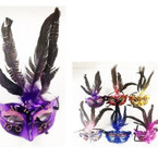 "12"" Party Mask Asst Colors w/ Handpainted Glitter & Feather 12 per pk ONLY .58 ea"