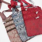 """6"""" X 8"""" Heart Pattern 3 Zipper Messenger Bag w/ Lg. Strap $ .92 ea"""