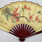"""13"""" X 22"""" Yellow Color Asian Inspired Print Large Wood Fans $ 1.75 ea"""