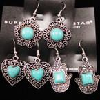 3  Style Cast Silver Earrings w/ Turquoise Stone .52 ea