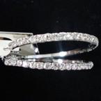 """1.5"""" Polished Silver Hoop Earring w/ Full Circle Clear Rhinestones .52 ea"""