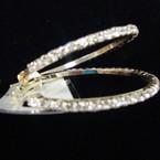 """1.5"""" Polished Gold Hoop Earring w/ Full Circle Clear Rhinestones .52 ea"""