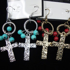 Gold & Silver Hammered Metal Cross Earrings w/ Colored Beads  .56 ea