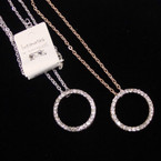 """20"""" Gold & Silver Neck Set w/ Crystal Stone Circle of Life Pend. .56 per set"""