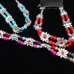 Silver Cast Flower & Colorful Bead Fashion Bracelet .54 ea