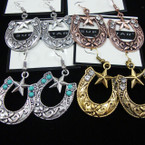 Western Theme Earring w/ Star & Crystals .54 ea