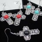 """1"""" Cast Silver Cross Earring w/ Crystal & Colored Stone .54 ea pr"""