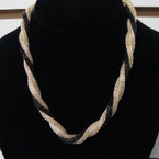 Gold/Silver/Blk Twisted Mesh Fashion Necklace  .58 ea