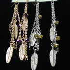 Long Chain Earring w/ Feather & Crystals .56 ea