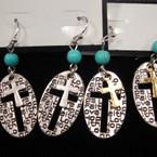 Oval Hope,Faith,Love Cross Bead Earrings .56 ea