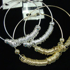 "3.5""  Big Gold & Silver Hoop Earrings w/ Rings .45 ea pr"