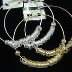 """3.5""""  Big Gold & Silver Hoop Earrings w/ Rings .56 ea pr"""