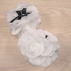 "5"" DBL Flower Jaw Clip Bows All White  .54 ea"