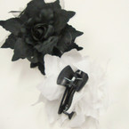 "5"" DBL Flower Jaw Clip Bows Black & White  .54 ea"