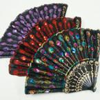 "9"" Spanish Style Black Handle Fan w/ Sequins .54 ea"