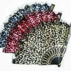 "9"" Black Handle Fan w/ Mixed Color Animal Prints.54 ea"