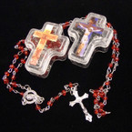 "32"" Mini Colored Bead Rosary in Cross Shaped Acrylic Box .54 ea"